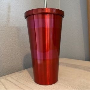 Starbucks Pink and Red Striped Tumbler